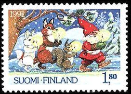 Joulumerkki 1991 1/2 - Joulupukki ja metsän eläimet Christamas postage stamp 1991 Finland