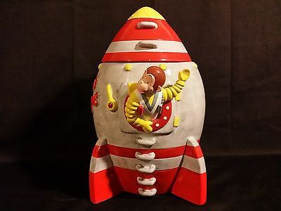 Vandor Rare Curious George Rocket Ship Cookie Jar