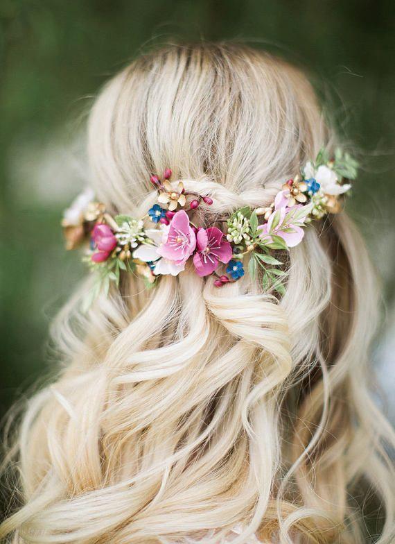 Bridal hair clip, bridal headpiece, floral hair vine, dusty mauve hair piece, pink hair clip, gold, navy hair flower, burgundy hair flower
