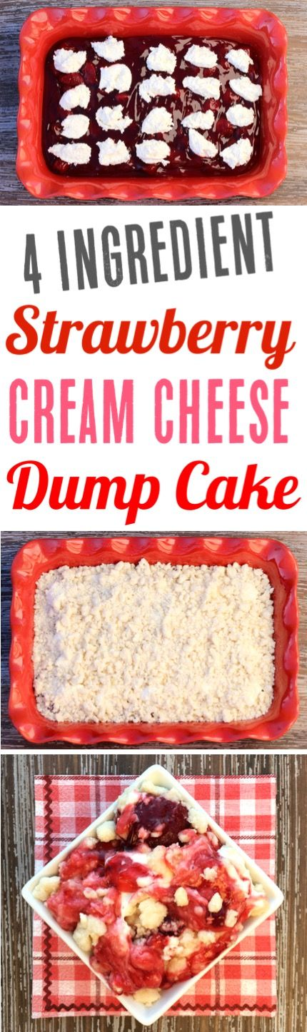 Easy Dump Cake Recipes with Fruit Pie Fillings make the BEST desserts!  This Strawberry Cream Cheese Dump Cake is always a hit with family and friends.  Just 4 Ingredients!  Add it to your menu this week!