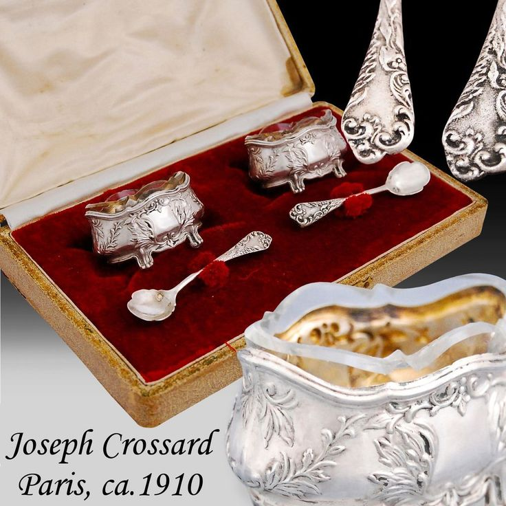 Crossard: French Sterling Silver & Vermeil Salt Cellars and Spoons - Boxed.