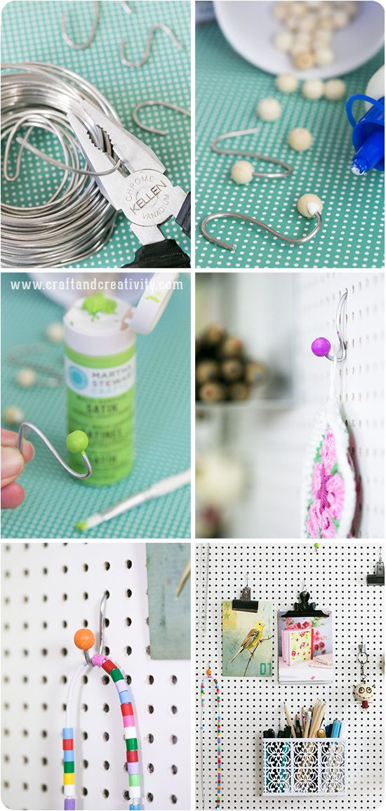 DIY Pegboard hooks - by Craft Creativity