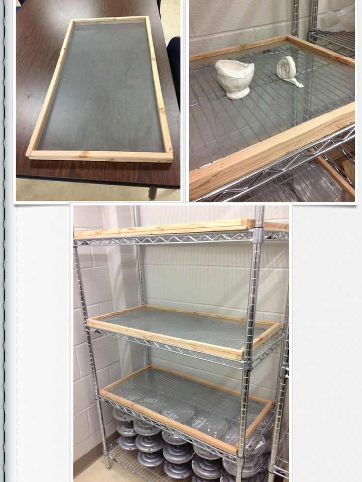 These frames have screens to make it easier to store clay pieces to dry. They were made for Andy Mireles Elementary School.