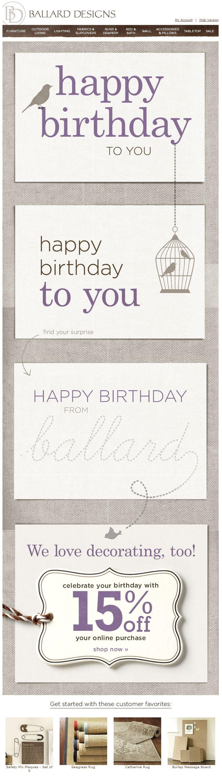 15 best trigger emails images on pinterest email design email ballard design birthday email