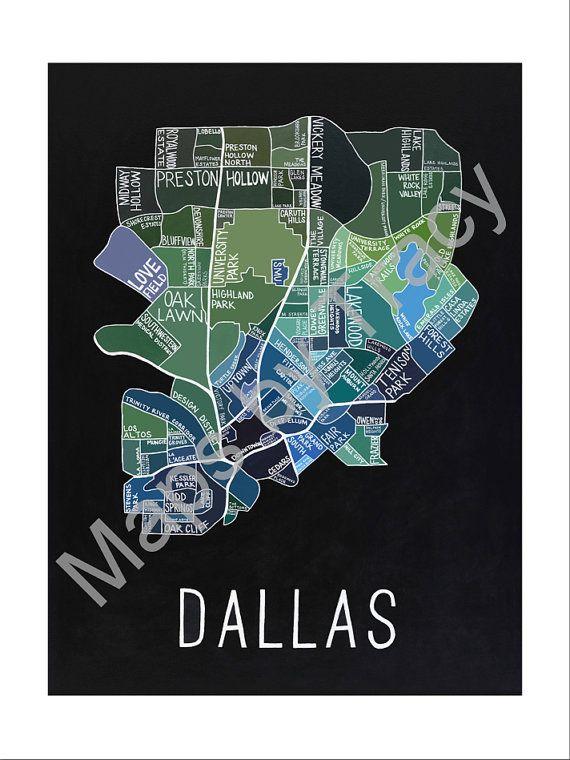 Dallas Neighborhoods Map Fine Art Print Fine Art Fine