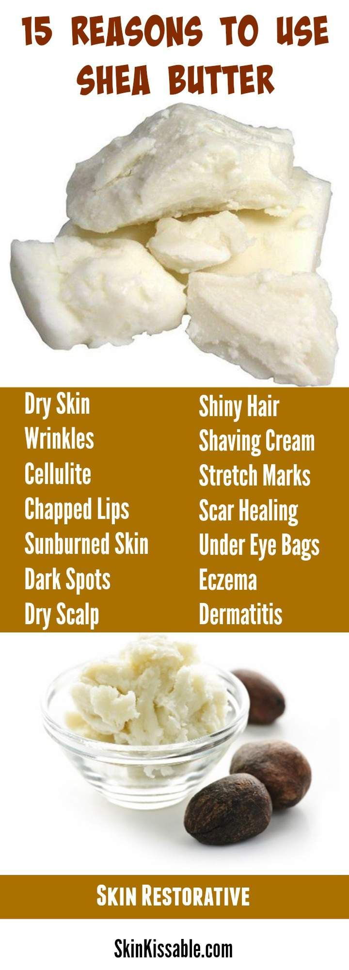Shea butter is a natural ingredient with benefits for wrinkles, dry skin, stretch marks, hair & many more skin issues.