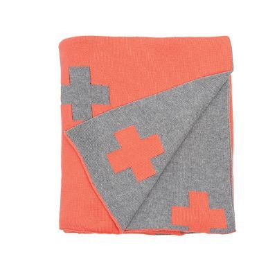 Coral Cross Knit Throw Rug. Reversible + design with grey & coral the perfect addition for your lounge
