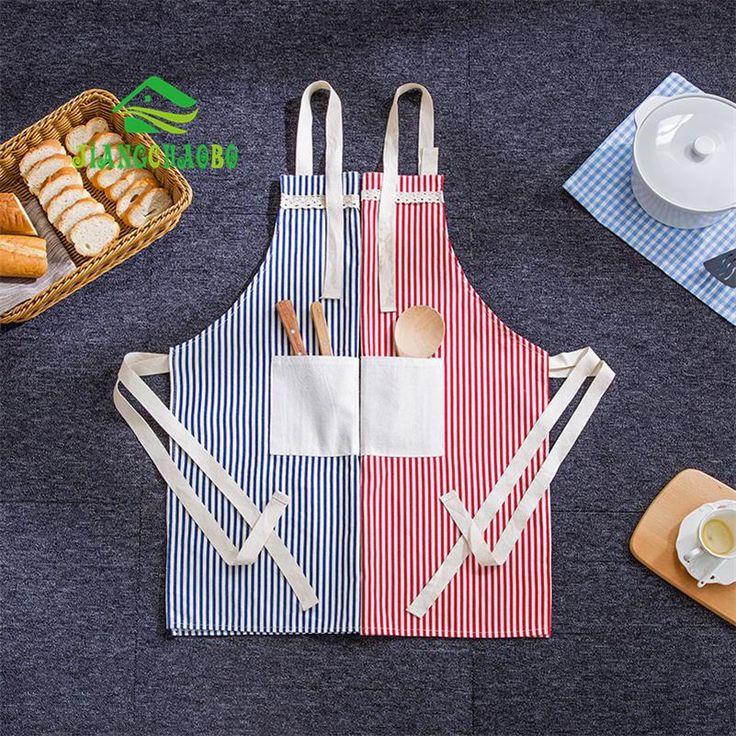 Striped Cotton Oil-Resistant Chef's Apron