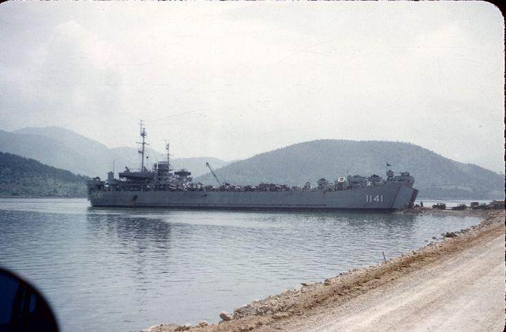 USS LST-1141 beached on a ramp at Koje (Geoje) Island, South Korea in 1953.