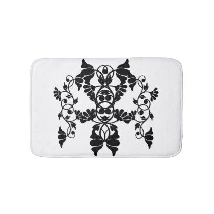 Black and White Victorian Embellishing Flowers Bath Mat - customize create your own #personalize diy & cyo