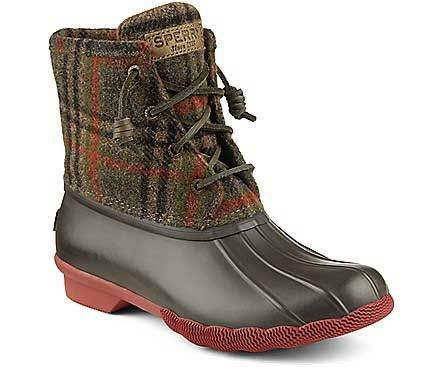 Sperry Top-Sider Saltwater Plaid Duck Boots for Women in Brown