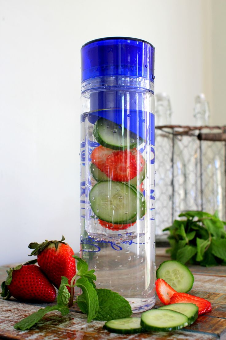 Anti-Aging & Anti-Bloat Detox Water (for one 24 oz serving) - 4-5 slices of fresh cucumber - 1 strawberry sliced - a few fresh mint leaves - 24 oz of ice cold water