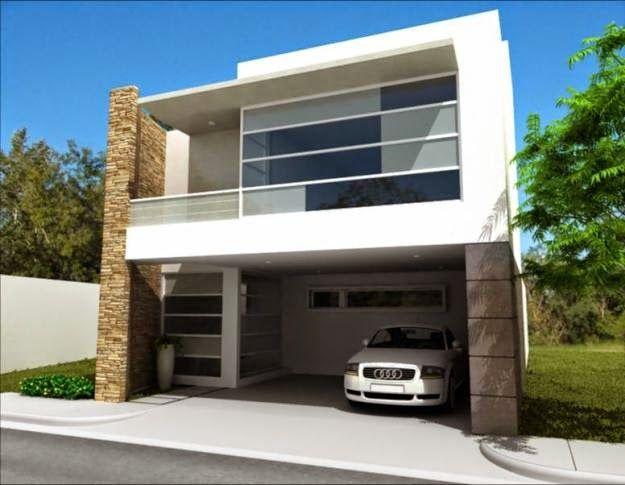 casa con fachada contemporánea y con detalles de cristal