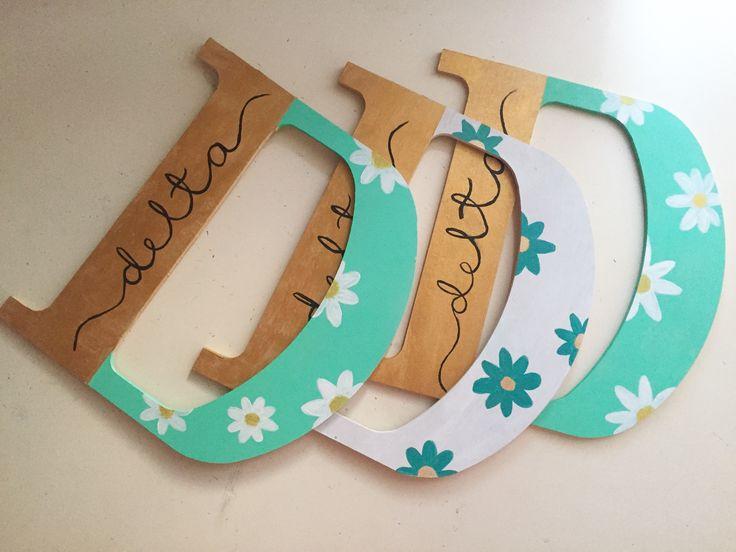 Tri delta painted wooden letters, big / little spoils week