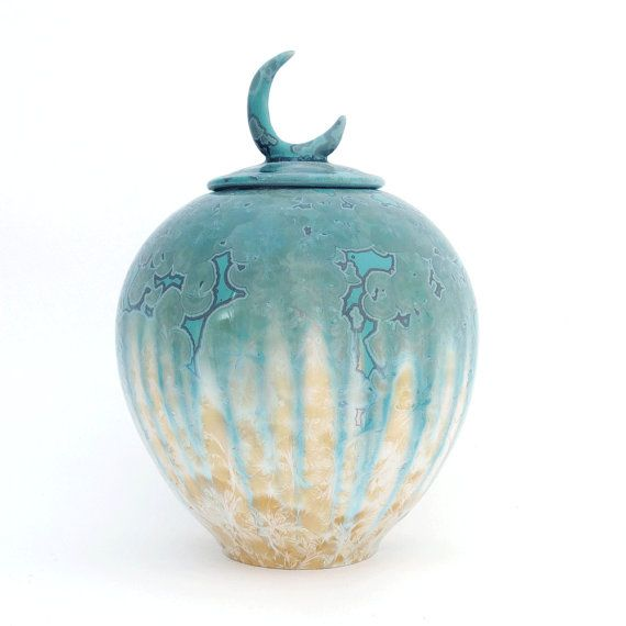 Oriental lidded ceramic container with green and by SunbirdPottery