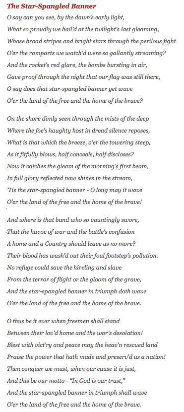 """Text of """"The Star-Spangled Banner"""" by Francis Scott Key"""