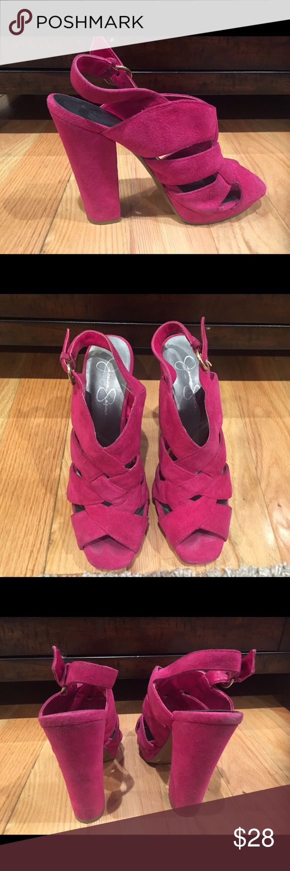 Hot Pink Shoes by Jessica Simpson Selling my hot pink shoes by Jessica Simpson. I bought these from a previous owner and only wore them twice. They're absolutely adorable. Selling them because I have no room for them and I don't wear them anymore. Jessica Simpson Shoes Heels