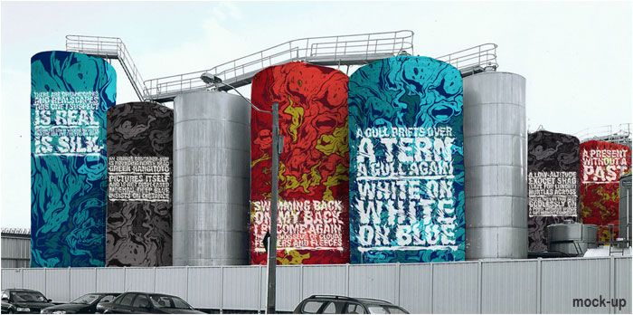 Colourful tanks at Wynyard Quarter, Auckland, New Zealand. Painted in Resene Paints by artist Askew, inspired by the words of poet C.K Stead.
