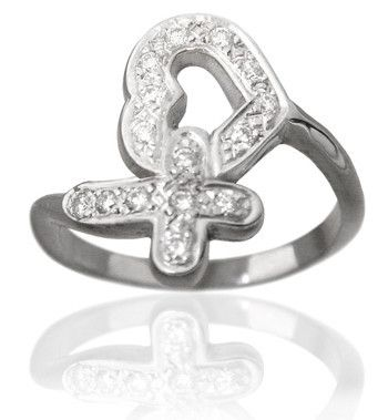 14KT White Gold Diamond Pave Protected Heart Purity Ring - PurityRings.com