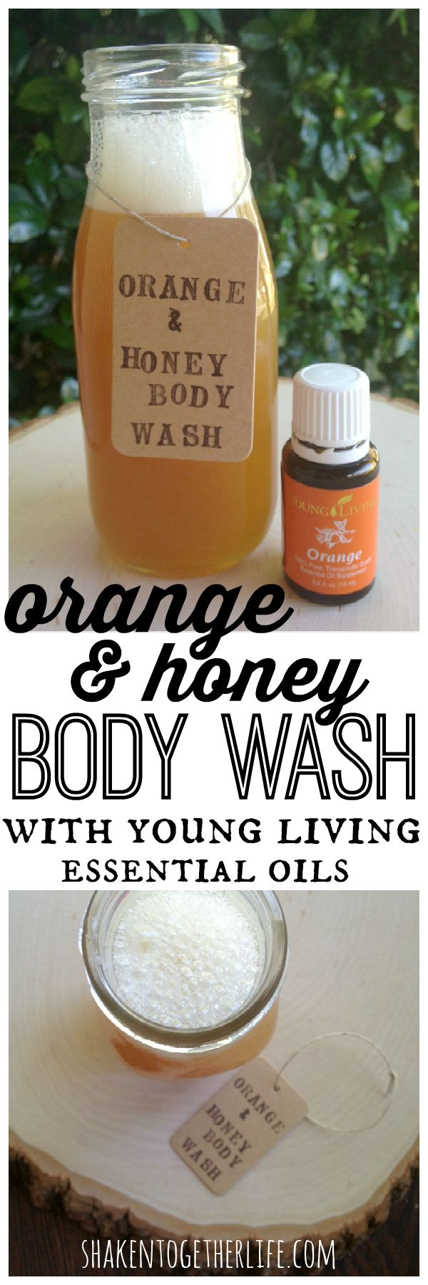 Orange and honey body wash with Young Living essential oil!  Our orange is also rated GRAS so it's great for kitchen recipes too!  www.youngliving.org/megamom9  sponsor/enroller 1189943