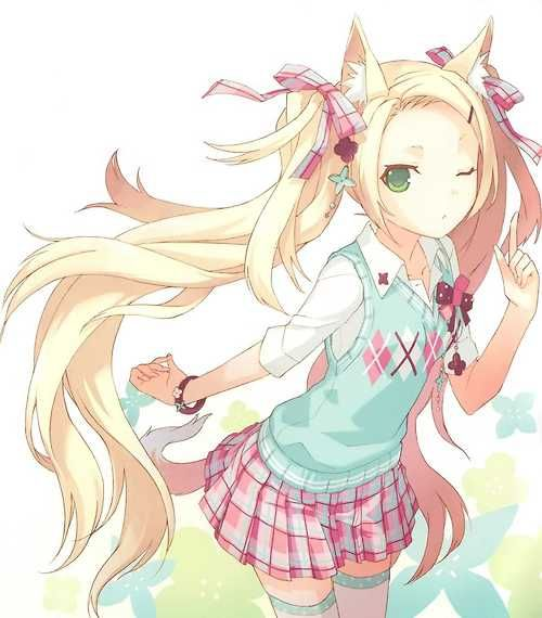 תוצאת תמונה עבור blonde neko girl anime