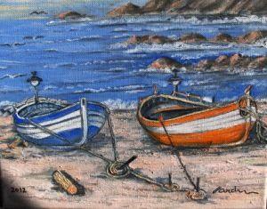 COSTA BRAVA FISHING BOATS (Barcelona)  BARCOS DE PESCA DE LA COSTA BRAVA When I was young I used to spend a lot of weekends fishing in Costa Brava, so in its honour I painted these Catalan boats. Cuando era joven, muchos fines de semana solia ir a pescar a la Costa Brava, he pintado estas barcas catalana en su honor