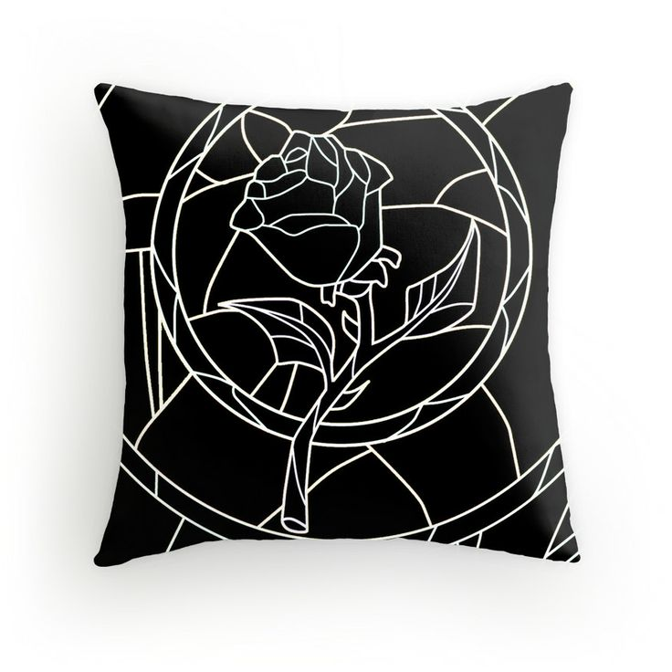 Stained Glass Rose Black Throw Pillow - Available Here: http://www.redbubble.com/people/rapplatt/works/9399068-stained-glass-rose-black?p=throw-pillow