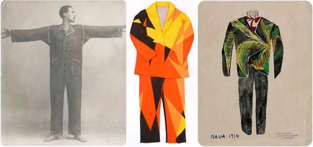 "Futurist fashion. Giacomo Balla. 1914. Futurism does not limit itself to merely a canvas. ""Balla initially studied the speed of automobiles, thus discovering the laws and essential line-forces of speed. After more than twenty exploratory paintings, he understood that the flat plane of the canvas prevented him from reproducing the dynamic volume of speed in depth. Balla felt the need to construct, with strands of wire, cardboard sheets, fabrics,[...] the first dynamic plastic complex."""