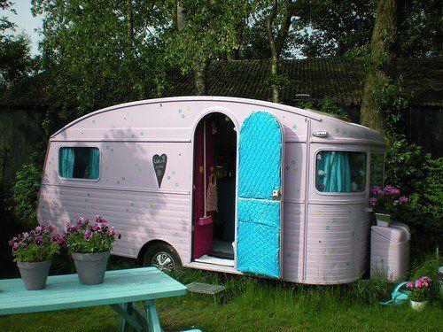 pink vintage camper......