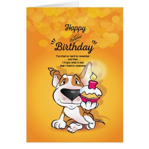 Bull Terrier Cartoon Card Happy Belated Birthday Affiliate Link