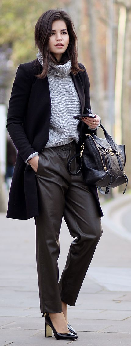 Grey And Black Chic Outfit by Fake Leather