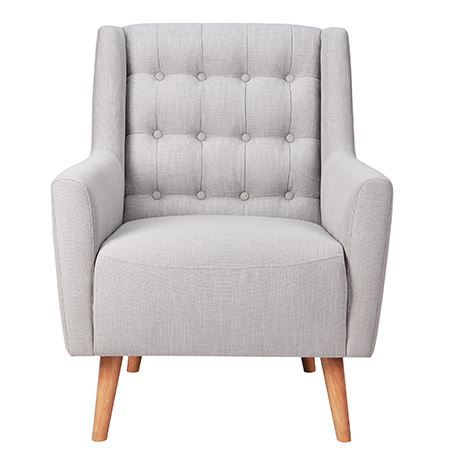 """This Danish-inspired mid-century design features a tall button back, blonde Beech legs, and a timber frame for comfort, style and irresistible retro charm. Take your pick of fabric and colour options to suit your taste. The Grayson features as part of our Chair Gallery, so whether you want to make a major statement or add an understated accent; the choice is yours.   """"Bring this gorgeous design right up to date in a sleek black leather, or be true to its Scandinavian roots in light grey or…"""