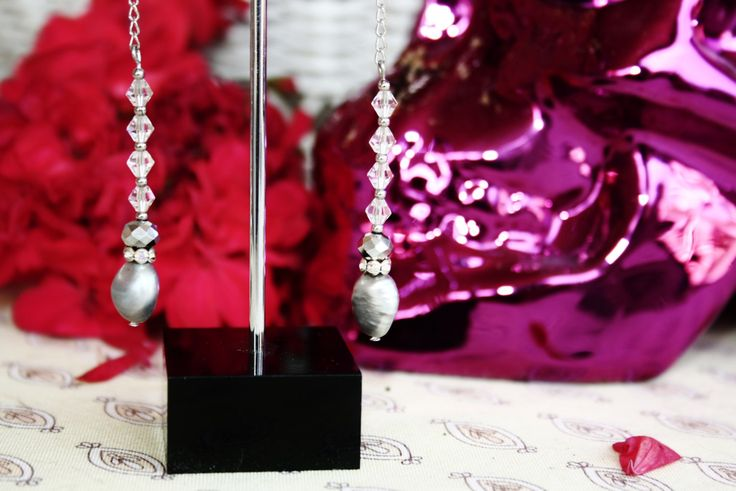 Boho Spanish Mexican Freshwater Pearl and Crystal Drop Bridal Earrings by BleakDesigns on Etsy