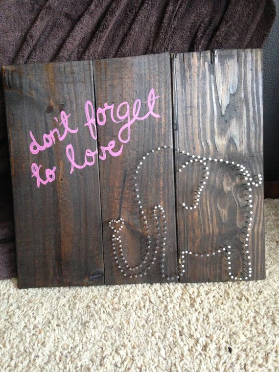 Elephant Don't Forget to Love Pallet Wood Nail Art by ScarletLn, $55.00