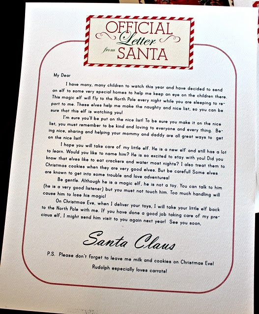Official Elf letter from Santa.  Free Printable PDF. So glad I found this, my baby sister writes to Santa all year long, so this would be really cute to give her.