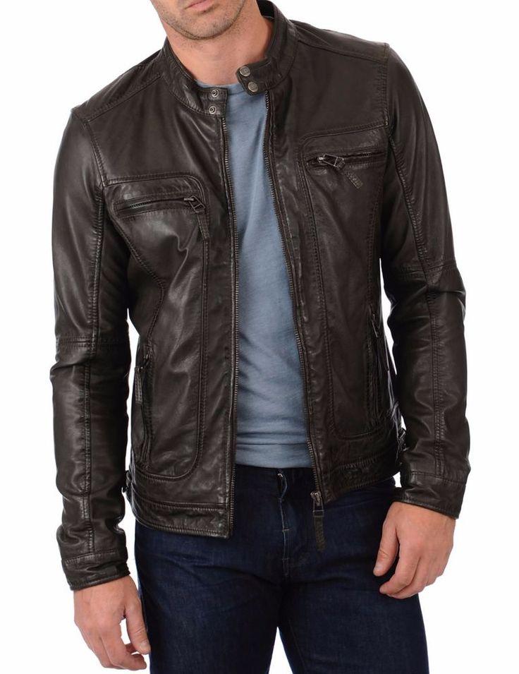 Real Leather Genuine Lambskin Men Jacket Motorcycle Slim Fit Stylish Biker BS24 #WesternOutfit #Motorcycle