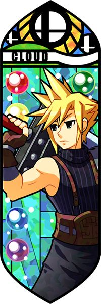 Smash Bros - Cloud by Quas-quas on DeviantArt << And Cloud's stained glass has finally been drawn.