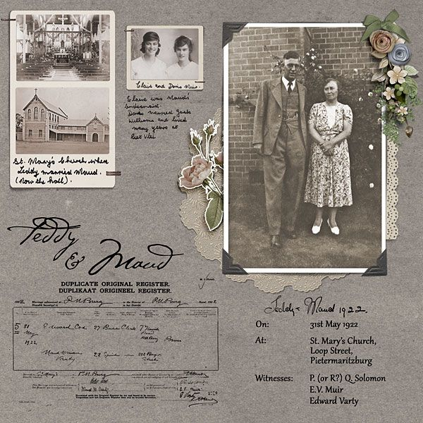 Teddy & Maud, pg. 1 ~ Two page digi heritage layout with the simple charm of an old-fashioned scrapbook. This page features their wedding photos and certificate.