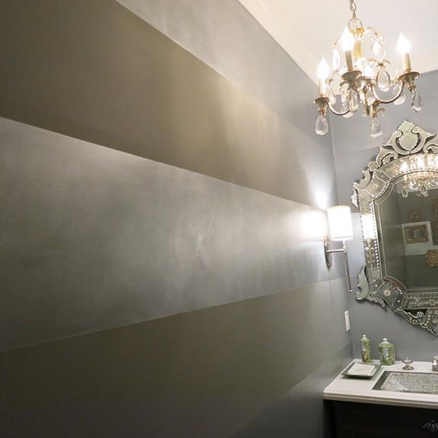 Horizontal wide metallic stripes with Pearl Metallic Paint by Modern Masters | Project by Arpy Dabbaghian of LA Artist