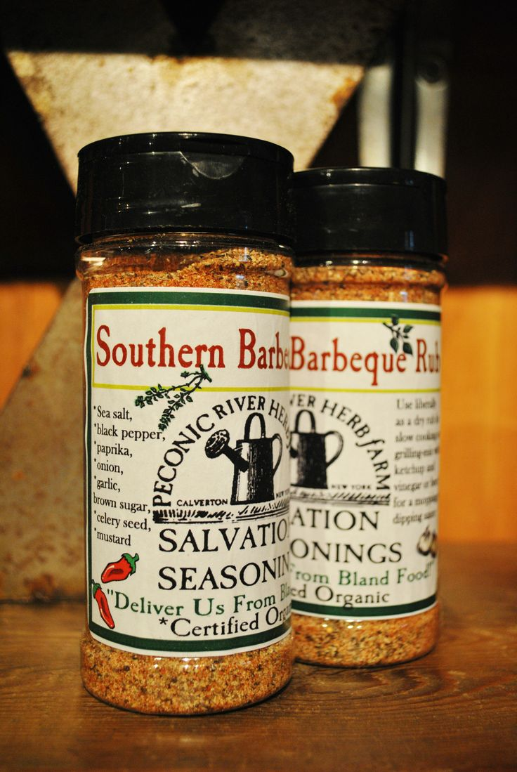 Southern Barbeque Rub - Use liberally as a dry rub for slow cooking and grilling. Or mix with ketchup and vinegar or beer for a mopping/dipping sauce.  Find it in the Outside In garden shop at the Peconic River Herb Farm!  #southerncooking