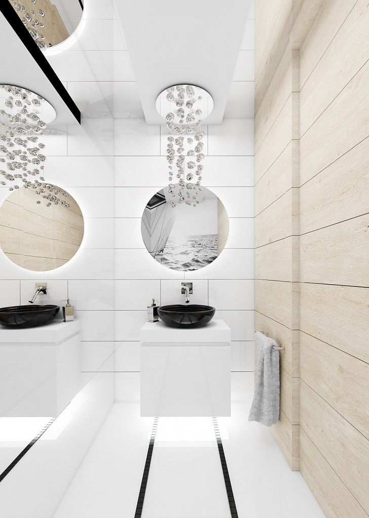 Projekt wnętrza łazienki inspirowanej stylem marynistycznym. W okrągłym lustrze widać odbijającą się fototapetę z jachtem nadrukowaną na froncie meblowym.
