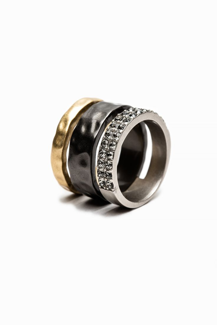 Zadig & Voltaire tricolor ring, brass and ruthenium with strass. S = 52, M = 54, L = 56.