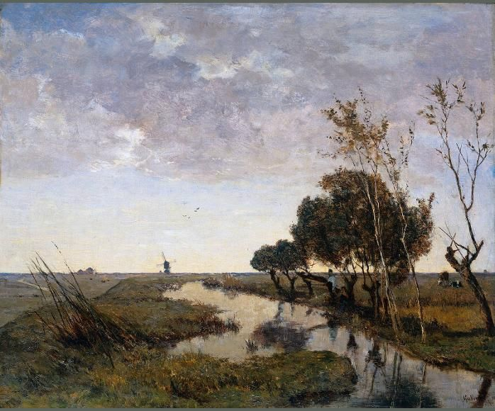 A watercourse at Abcoude This is a typical Dutch landscape with water, a few trees, a man fishing, some cows and a mill in the distance. The broad watercourse, directs the viewer\'s gaze towards the distance. In this way the artist Paul Gabriel, created a strong effect of perspective. The low horizon is a typical feature in Dutch landscape painting, allowing the subtly coloured cloudy sky to form an important part of the composition. 1878, Gabriel. www.rijksmuseum.nl
