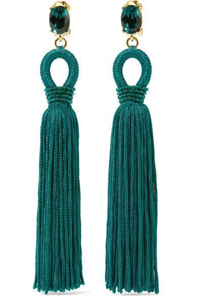 Oscar de la Renta - Tasseled Silk, Gold-tone And Swarovski Crystal Clip Earrings - Emerald - one size