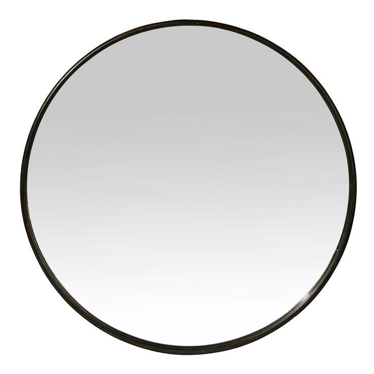 Miroir rond mural en fer noir BOUDOIR