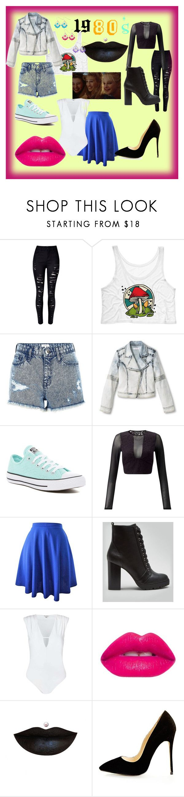 """""""1980s"""" by jmclarty on Polyvore featuring WithChic, River Island, Converse, Miss Selfridge, New Look and Anastasia Beverly Hills"""