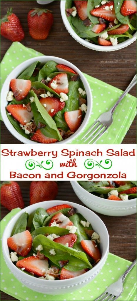 Strawberry spinach salad with bacon and Gorgonzola cheese. The slightly sweet balsamic vinaigrette dressing makes this healthy lunch or dinner salad perfect for spring and summer. Perfect for Mother's Day brunch too!