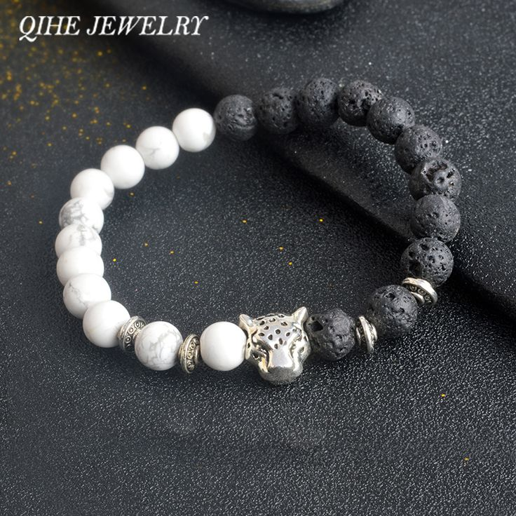QIHE JEWELRY White/Black Colorful Weathering Agate Natural Stone Beads Bracelet With Leopard Lava Stone For Men Women pulseras