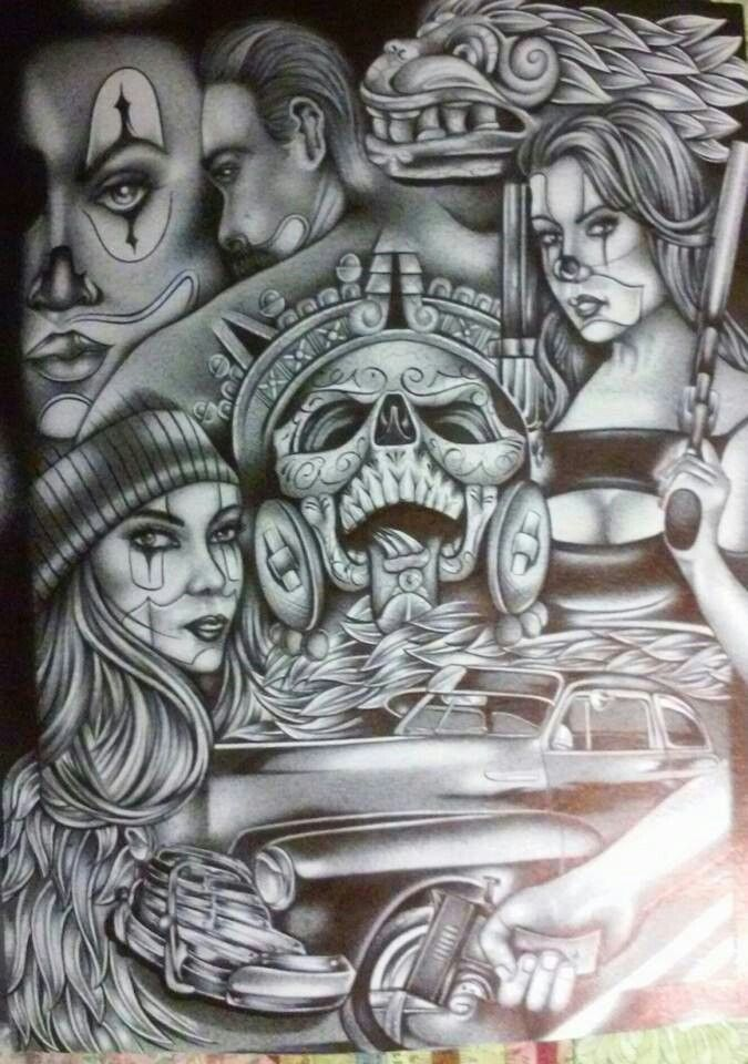 chicano drawings tattoo tattoos lowrider arte prison cholo artwork drawing flash patterns artist aztec gangster sketches result discover designs latino