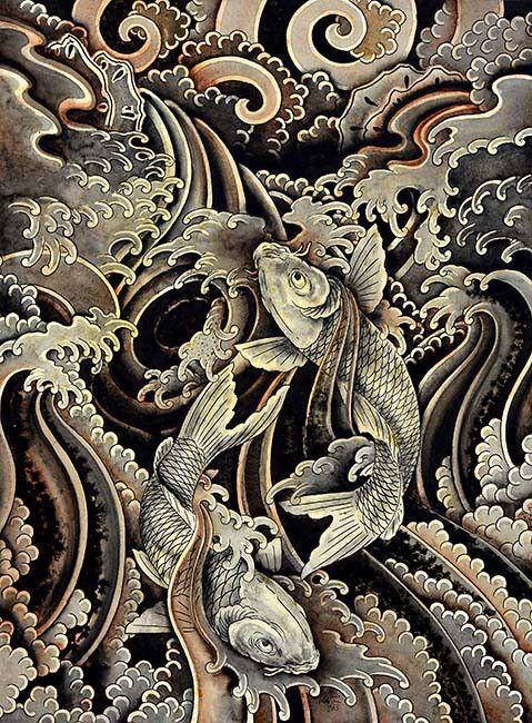 Ascending Kois by Clark North Asian Tattoo Artwork Giclee Art Print